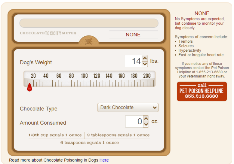 chocolate toxicity meter