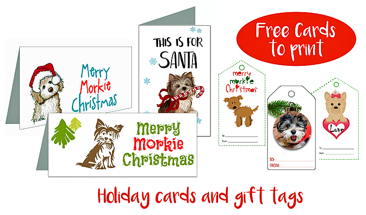 Free gift tags and holiday cards featuring Morkies
