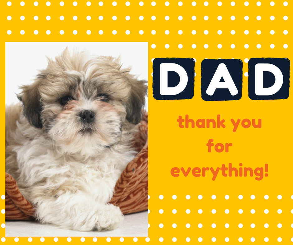 card that says happy fathers day from the dog, the Morkie dog