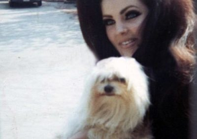 Pricila Presley and maltese dog