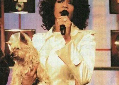 Whitney Houston with her yorkie