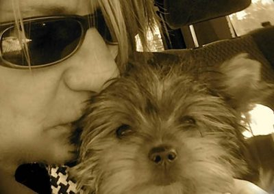 Yorkie Yorkshire Terrier getting a kiss from woman
