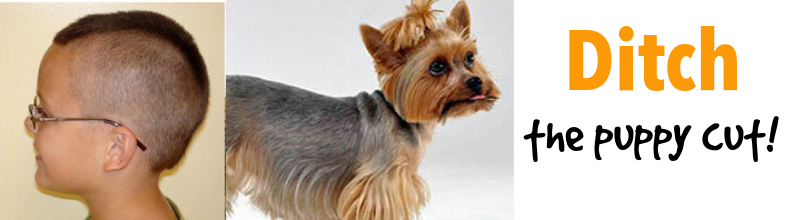 boy with hair too short and yorkie with short hair