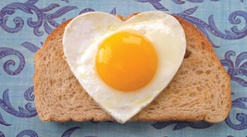 Father's Day breakfast, a heart shaped egg