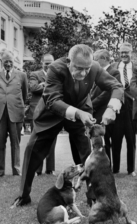 L. B. J. with beagle dogs