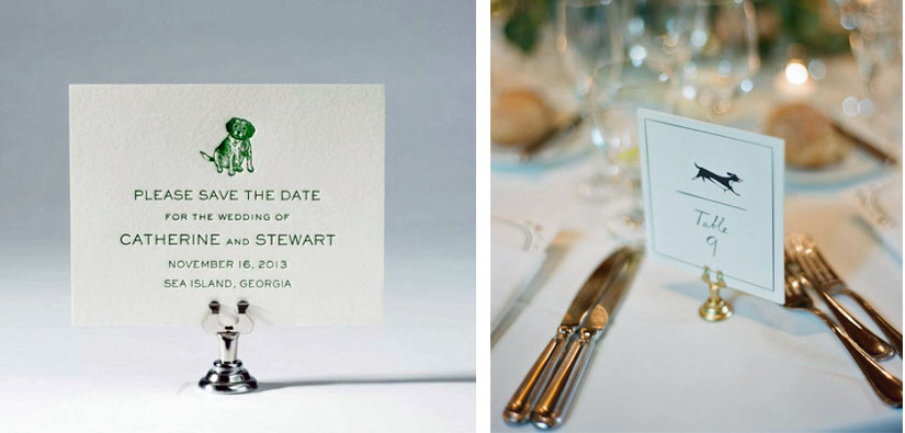 Feature your dog on some of the wedding stationery