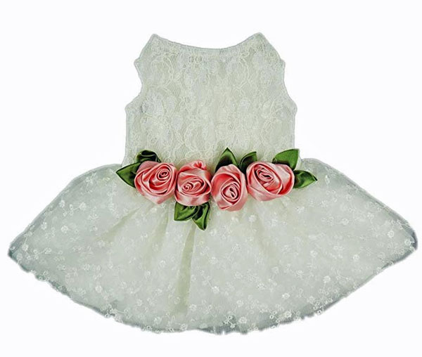 white tutu style dress for dog